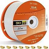 Cavo coassiale per antenna SAT per DVB-S, S2, DVB-C e DVB-T BK, per impianti Full HD e altro, bianco, 50 m