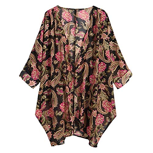 Bluse Damen Julywe Damen Sommer Herbst Casual Floral Print Lange Ärmel Chiffon Cardigan Loose Kimono Bluse Tops