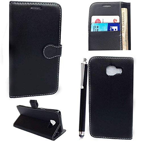 luxury Portafoglio Protettiva Custodia in pelle per Samsung Galaxy A5 2016 A510 Cover Caso + Stylus pen (Black Book)