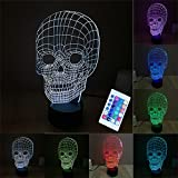 3D LED lampe de nuit, Colorful Tête de crâne Forme Magical Illusion 3D Lampe, Chambre Décoration Meilleur cadeau, Lumière 7 couleurs changent USB Powered Lampes de bureau