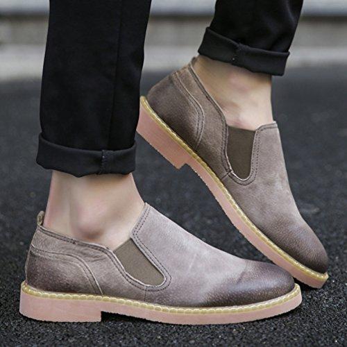 Anguang Homme Chaussures Décontractées PU en Cuir Plat Chaussures de Conduite Slip On Loafers Mocassins Gris