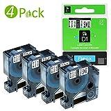 Fimax 4 Schriftbänder für Dymo D1 45013 für LabelManager LabelPoint LabelWriter Schwarz auf Weiß 12mm x 7m