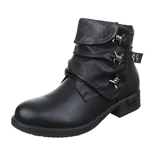 Damen Schuhe Leicht Gefütterte Biker Boots Reißverschluss Boots / Bikerboots Stiefeletten Blockabsatz Schwarz