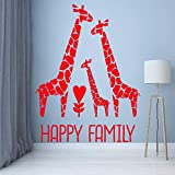 Kinder Schlafzimmer Dekoration Romantische Giraffe Glückliche Familie Wohnkultur Vinyl Kunst Design Poster Jungen Mädchen Poster 3 42X56 cm