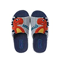 Coralup Boys Dinosaur Plush Slipper House Home Anti-Slip Slippers for Children Green Size UK 11.5 Kids