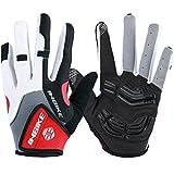 Inbike Herren Fahrradhandschuhe Mit Gel vollfinger MTB Handschuhe für das Radfahren(Rot-Lang,L)