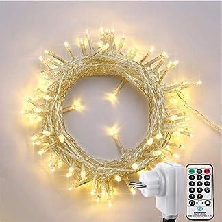 NEXVIN Luces de Arbol de Navidad 200 LED 23 Metros, Cadena de luces Blanco Cálido con Control Remoto, Luces de Hadas de 8 Modos de Luz,Guirnalda de luces de Navidad