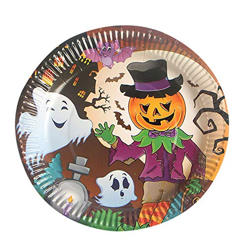 sunnymi 10 Stücke Halloween Pappteller Einweg Papier Geschirr Geschirr Halloween Party Supplies (C, 10Tlg)