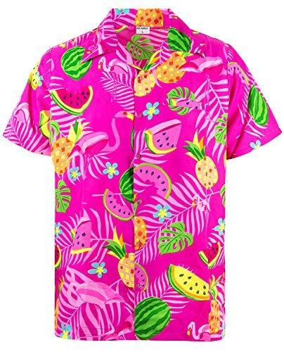 King Kameha Funky Hawaiihemd, Kurzarm, Flamingos Melonen, Pink, XXL
