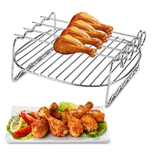 Ersatz-grill-racks (Grillrost Delaman BBQ Grill Rack Ersatz Doppelspieß Aufsteckspindeln Backblech für Philips Air Fryer)