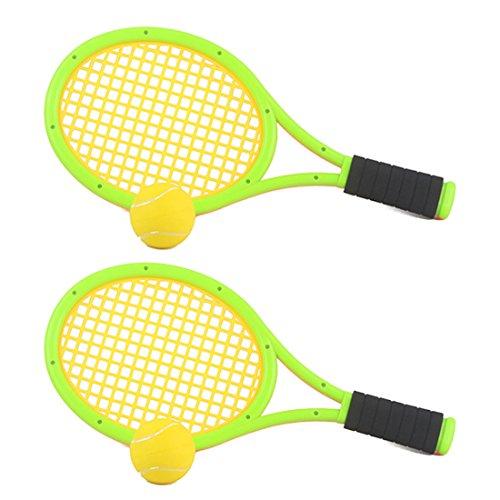 mecotech–Raqueta de tenis infantil, 1par niños Raqueta de tenis raqueta de bádminton Niños Juego de raquetas de tenis con tenis bolsa y 2pelotas de tenis para niños a partir de 3años, 43x 19cm, verde, 43 * 19cm