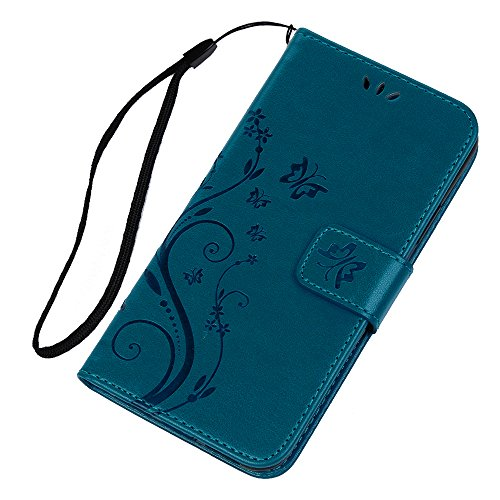 MAXFE.CO Lederhülle Case Schutz für iPhone X PU Leder + TPU Innere Etui Schale Backcover Brieftasche Prägung Muster Flip Cover mit Kartenfächer Magnetverschluß Standfunktion Lila Blau