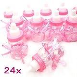 JZK 24 x Rosa Baby Candy Mädchen Box Flasche Baby Shower Geschenk Box Party Taufe Geschenkpaket (Rosa)
