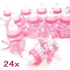 Idea Regalo - JZK 24 Rosa biberon bottiglia bottiglina bottigliette portaconfetti bomboniere porta caramelle confetti regalino per battesimo nascita comunione compleanno bambina bimba ragazza bambini