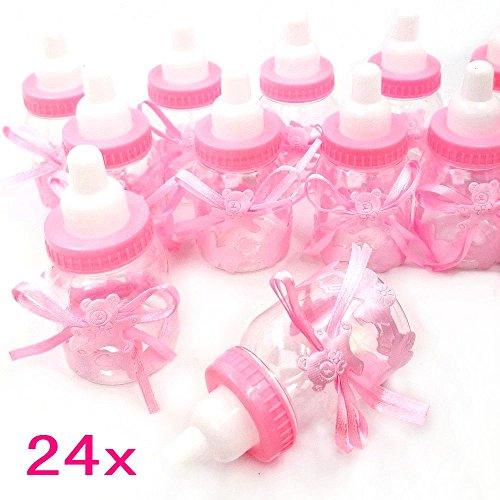 JZK® 24 x Rosa Baby Candy Mädchen Box Flasche Baby Shower Geschenk Box Party Taufe Geschenkpaket (Rosa)