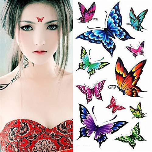 WSFST Wasserdichter Tattoo-Aufkleber Frau Persönlichkeit Schmetterling Tattoo Wasserdicht Aufkleber 10 Stück Tattoo-Set (X01)