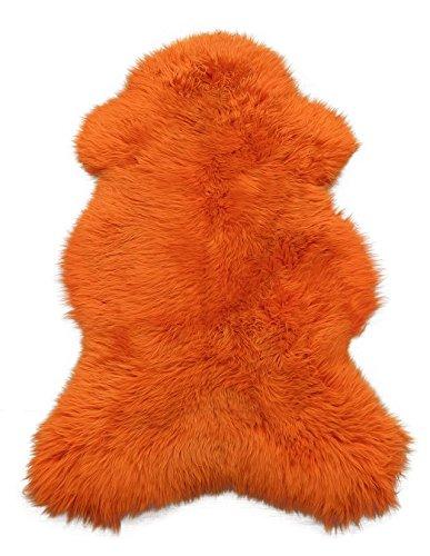 Cilag Lammfell Schaffell gefärbt Leder Fell Teppich Lambskin sheepskin Orange 111-120cm (Fell Orange)