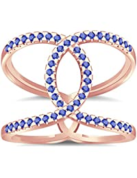 Silvernshine Halo Twist Tanzanite CZ Diamond Engagement Ring 14k Rose Gold Plated Bridal Ring