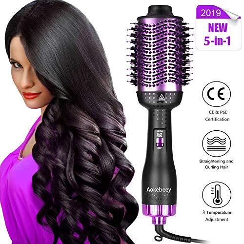 Aokebeey Professionel Haartrockner One Step Multifunktions Warmluftbürste 5 in 1 Fönbürste Rundbürstenföhn Ionic Föhn für alle Haartypen (Schwarz lila) -