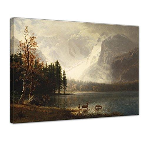 Leinwandbild Albert Bierstadt Estes Park, Colorado, Whyte's Lake - 80x60cm quer - Wandbild Alte Meister Kunstdruck Bild auf Leinwand Berühmte Gemälde - Estes Park, Colorado