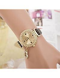 VANKER Cristal Rhinestone de lujo de cuero de imitación Banda Corazón colgante reloj de cuarzo (Color: Negro)