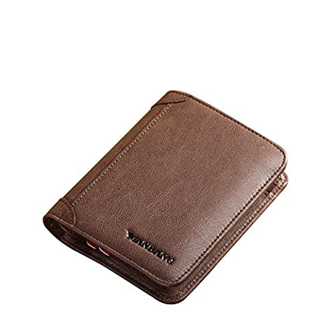 Men's Genuine Cowhide Wax Leather Extra Capacity Bifold Wallet (Dark Coffee)