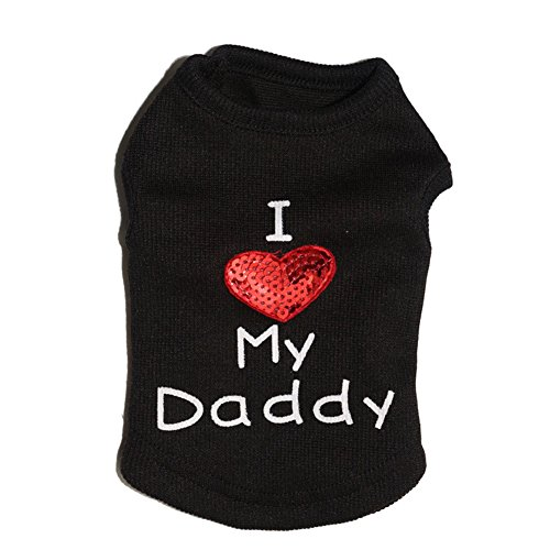 Tenchif Hund I Love My Daddy T-Shirt Pullover Kleidung Weste Sommer Kleid (Black Dog-kleid)