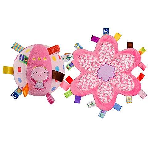 INCHANT Lovely Pink Engel Kleinkind-Bell-Ring-Kugel-Plüsch-Spielzeug-Kugel & Baby warme weiche Sicherheitsdecke Tag Decken, 2 Stück