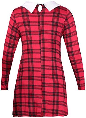 femmes Tartan à carreaux imprimé femme élastique Contraste col chemise SWING Mini robe haut long Rouge