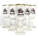 Holsten Gläser 6x0,2l mit Goldrand und Eichung ~mn 368b 1261