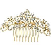 EVER FAITH® Fiore dei capelli dell'onda del pettine chiaro austriaco di cristallo Gold-Tone