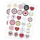 48 moderne Design Etiketten, rund / Bunter Mix / Viele Verschiedene Sticker / Valentinstag / Liebe / Herzen / Hochzeit / Geschenk-Aufkleber / Sticker /