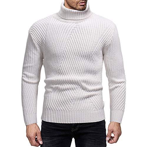 Cebbay Camiseta de Manga Larga para Hombres Cuello Alto de Punto el stico Chaqueta Slim fit
