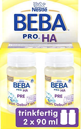 Nestlé Beba Pro HA Pre Hypoallergene Säuglings-Anfangsnahrung, hydrolisierte Baby-Nahrung im Fläschchen, von Geburt an, 2er Pack (2 x 90 ml)