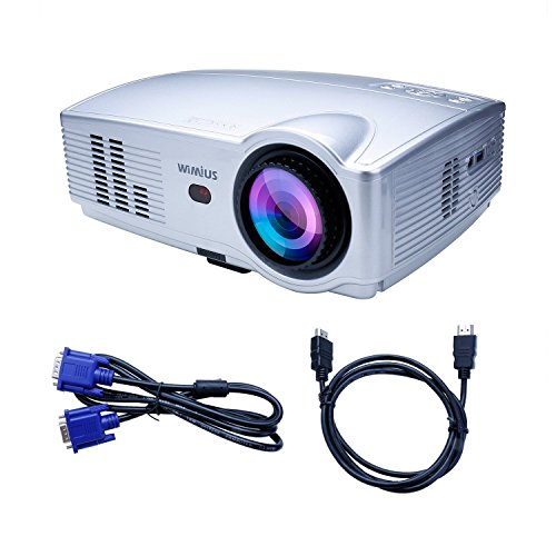 Beamer LED Projektor Tragbar HD 3200 Lumens 1080P 1280X800 Kontrast 2000:1 Beamer Tragbarer Videoprojektor Mini WiMiUS T4 Projektor für Heimkino Spiel Bildung Multimedia HDMI/USB/VGA/AV