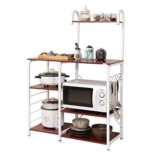 DlandHome 35,4' Carrello per microonde, Stoccaggio Utility da Cucina 3 + 4-Tier Portaspezie Organizzatore Mensola della Stazione di Lavoro,Versione Aggiornata,Noce