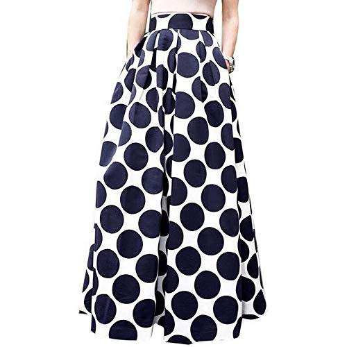 YEBIRAL Damen Röcke Exquisite Polka-Punkt Drucken Lange Lose Hoher Taille Vintage Tutu Ballkleid Beiläufiges Frauen Rock ()