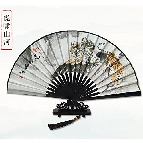 XIAOHAIZI Handfächer,Sommer Chinesischen Stil Männer Bambus Fan Weiß Tier Tiger Vintage Faltfächer Für Zuhause Wanddekoration Frauen Männer Geschenk Fan U-Bahn - Tiger Tanz Kostüm