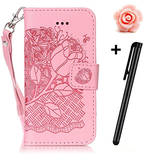 iPhone 6 Custodia Sottile, toyym iPhone 7 PU Custodia in pelle per carte di credito e contanti], Pretty fiore 3d Acchiappasogni Pressed Pattern Custodia a portafoglio Flip Chiusura Magnetica Book Desi Pink Rose