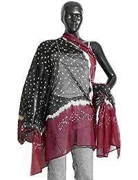 DollsofIndia Black And Maroon Tie And Dye Cotton Dupatta - 42 X 80 Inches (OA27) - Black