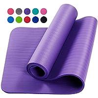 AGKupel - Esterilla de yoga gruesa para ejercicio, pilates, camping, gimnasio, meditación, esterilla antideslizante para mujeres y hombres, 183 cm x 61 cm x 10 mm, 49246KWFCQC6TT, morado