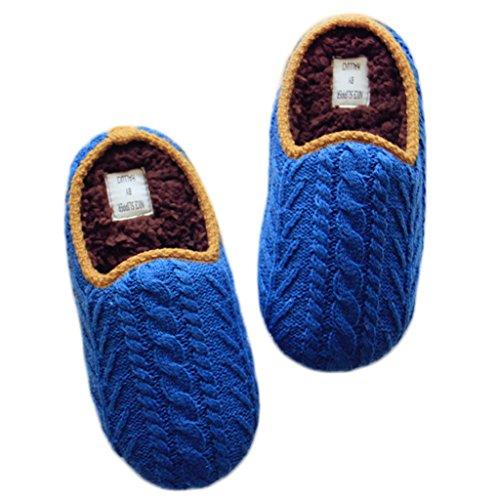 Fortuning's JDS Unisex adulti coppia accogliente maglieria Velluto casa Calzature ritorto comodo Flatform pantofole Blu