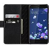 StilGut Talis Schutz-Hülle für HTC U11 mit Kreditkarten-Fächern aus echtem Leder. Seitlich aufklappbares Flip Case in Handarbeit gefertigt für das Original HTC U11, Schwarz