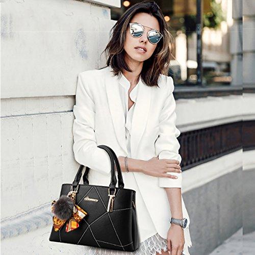 Sunas nuovo Borsa da donna Stile semplicistico Moda Borsa a mano PU Borsa messenger nero
