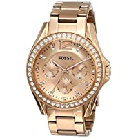 Fossil Riley Chronograph Rose Gold Dial Rose Gold Stainless Steel Watch for Women - ES2811