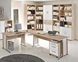 Arbeitszimmer Büro Komplettset OFFICE LINE 7-tlg. Sonoma / Weiß