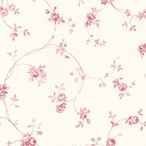Essener Floral Prints Vinyltapete PR33825 Creme Alt-Rosa Rosa Blumen Landhaus Vintage Floral Blumen-print-tapete