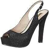 XTI Black Microfiber Ladies Shoes ., Women's Peep-Toe