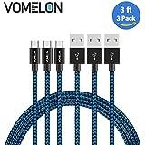 Cable Micro USB, 3Pack-3FT Nylon Trenzado Libre de Enredos Micro Cable de Carga USB Cable de Carga para Android, Samsung, HTC, Nokia, Sony, Nexus, LG y más -Azul+Negro