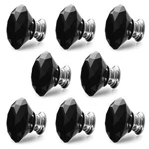 Revesun® 10PCS/LOT Diamètre 40mm Noir Poignées Porte Cristal Boutons Armoires Tiroir Meubles Placard Cabinet Verre Knob en Forme De Diamant